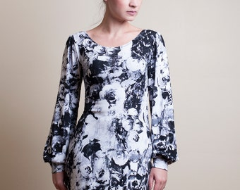 Black and white Floral Sheath Dress with Long Bishop Sleeves-Small (Sample Sale)