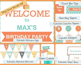 Party Decor Bundle,Editable PDF Welcome Sign, Alphabet Banner, Cupcake Toppers, Table Tents, Straw Flags, Thank You Tags & much more PDB-019