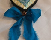 Beaded Heart Ornament with Sequins - Royal Blue