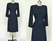 1940s Crepe Dress --- Vintage Black Dress