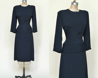 1940s Crepe Dress --- Vintage Black Dress