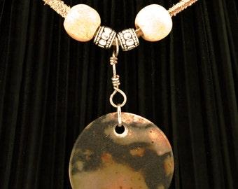 hand made ceramic pendant, sagger fired sp23