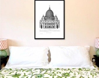 St Peter's Church architectural antique reproduction print architecture print vintage architecture print art