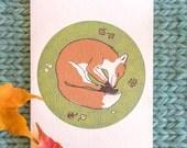 sleeping fox card: mossy fox
