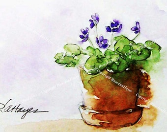 African Violets Watercolor Painting Print Floral