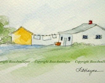 Laundry Day in the Country Original Watercolor Painting Laundry Room Art White Farmhouse Clothesline Gift