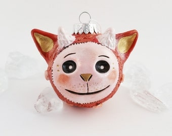 Imp Christmas Ornament, Polymer Clay Red Holiday Ornament