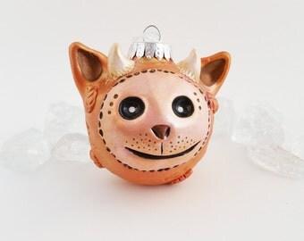 Imp Christmas Ornament, Polymer Clay Golden Peach Holiday Ornament