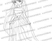 Elegant Gown Bride Digi Stamp, Wedding Digital Image PNG, Princess Evening Dress, Scrapbooking Supplies, Colouring Page, Instant download
