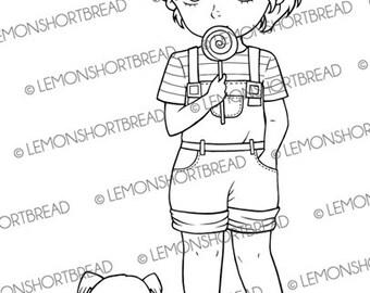 Digital Stamp Lollipop Girl with Dog, Digi Download, Summer, Children Kids, Pets, Clip Art, Scrapbooking Supplies, Coloring Page