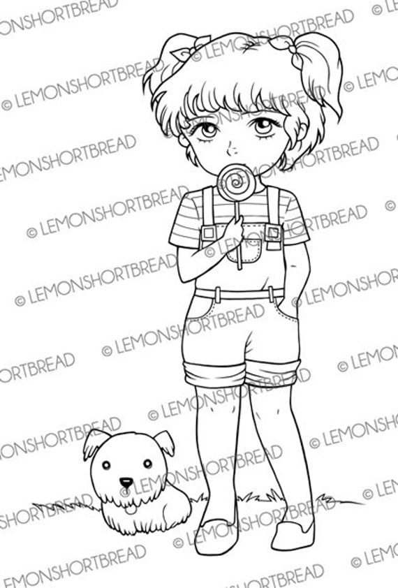 Digital Stamp Lollipop Girl with Dog, Digistamp PNG, Summer Children KIds, Pets, Cute Whimsical, Digital Cardmaking Supplies, Coloring Page