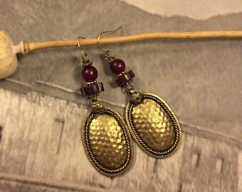 Oval Hammered Bronze Earrings,Buffalo Horn Earrings, Boho, Tribal