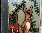 Rabbits - 24x20 Acrylic Original Reverse Glass Painting Reclaimed Window Wall Art with Wood Panel by Karen Watkins - Repurposed Art