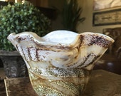 Valletta Glass Handcrafted in Malta Round Free Wave Neck Bowl Brown Pearl White Signed TYCAALAK