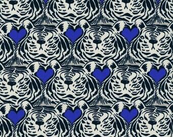Cotton + Steel Bluebird Tiger Hearts  100% Cotton Fabric