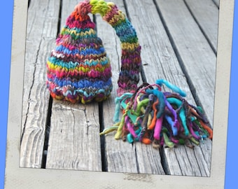 Newborn Elf Hat - Baby Photography Prop  - Twin Props - Elf - Rainbow tons of color Baby Hat - Handdyed and Handspun yarn