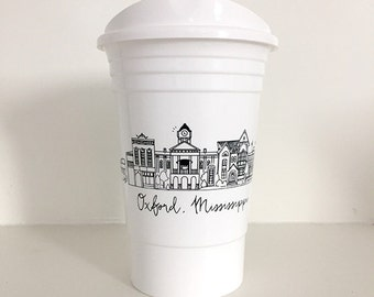 SALE! Reusable Oxford, Mississippi Ole Miss City Skyline Party Cup