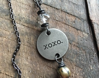 XOXO - Pendant Necklace, Stamped Necklace, Stamped Jewelry, Silver Charm Necklace, Inspirational Quote Necklace, Gift for Her