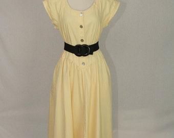 Vintage 1980's Yellow Denim Midi Dress Drop Waist Princess Button Down