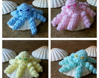 Pick One 'Pretty in Pastel' Baby Octopus in Pastel Blue, Pink, Yellow or Green. New Baby Gift