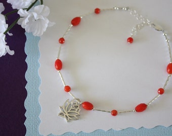 Lotus Coral Anklet and Sterling Silver, Salmon Anklet, Red, Silver Anklet, Beach, Vacation, Beach Wedding, Bridesmaid, best friend gift