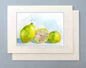 Watercolor note card / Blank Card / Handmade all occasions thank you birthday anniversary greetings / Fresh lemons /fruit card / 7 x 5 A7