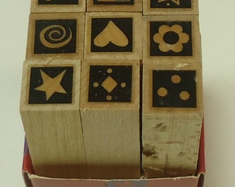 Set Of Nine Tiny Sprinke And Sparkle Wood Mounted Rubber Stamps From Hero Arts Heart Flower Star Sun Swirl Musical Note