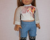 18 inch doll clothes, graphic print crop top with mesh sleeves, blue skinny shorts with built in leggings,maplelea