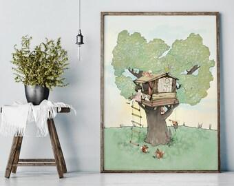 Tree house - Girl Art - Holli - Nursery Wall Art - Nursery Decor - Childrens Art - Kids Wall Art - Nursery Art