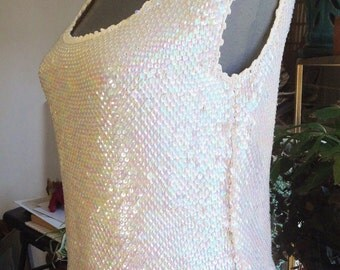 Vintage 1960's Iridescent White Sequined Top Sleeveless Tank Top Scoop Neck Top Sequin Stretch Knit Camisole