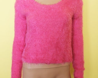 90s Hot Pink sweater top club kid large rave clueless SHAG bright shaggy vintage bright fuzzy furry grunge shirt medium party monster fringe