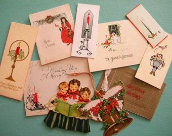 Vintage Lot of 10 Unused Christmas Cards Art Deco Gift Tags