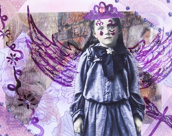 Handmade Altered Art Folded Greeting Card, Size 5x7, 3D, Purple, Fairy, Angel, Vintage