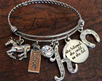HORSE jewelry, Birthstone, EQUESTRIAN jewelry, Initial, Horse shoe, BANGLE bracelet, She believed she could so she did, Accomplishment
