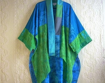 Kimono Cardigan/Bohemian Jacket/Patchwork Kimono/Free Size/Silk and Rayon/Green and Turquoise by Brenda Abdullah