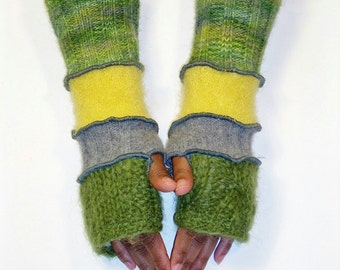 Fingerless Gloves, Patchwork Hand Warmers, Yellow and Green (Olive Mohair/ medium Grey/Bright Yellow/Variegated Green, Grey, Olive)