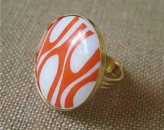 Orange Ring, Retro Ring, Vintage Ring