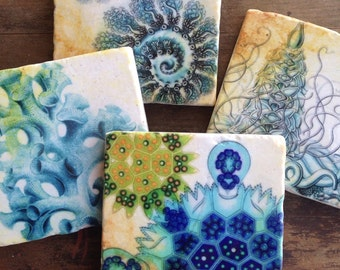From The Sea coasters - stone coasters, beach decor, beach house, ocean life, vacation house