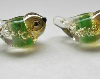 2 green bubble bird beads lampwork handmade artisan glass