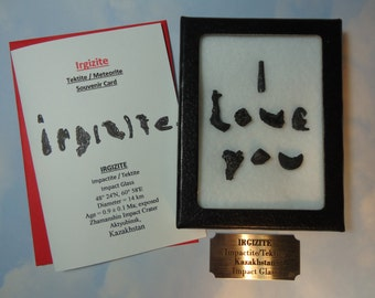 Sale Irgizite I LOVE YOU Tektite Meteorites Writing Display With Souvenir Card Stand Laser Engraved Label Impact Glass From Kazakhstan Rare