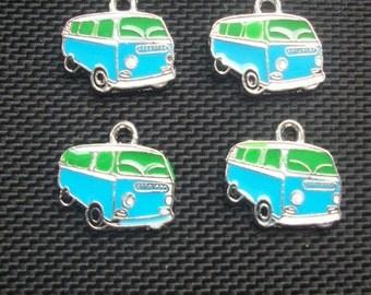 4 VW Camper Van Blue and Green Enamelled Charms Silver Tone Metal