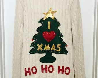 Christmas Sweater, Ugly Christmas Sweater, Sweater, Christmas Tree, Ugly Sweater Party, White Sweater, XXL, Item #8