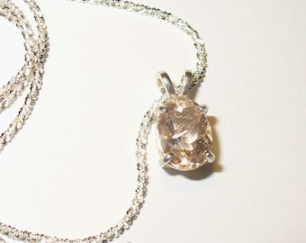 Morganite Pendant Necklace in Sterling Silver - Genuine, Natural Gemstone