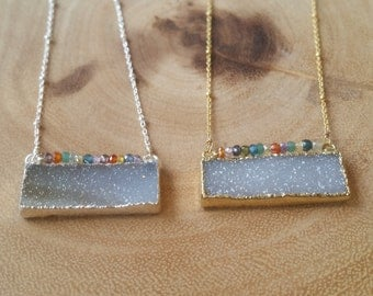 Drusy Bar Silver or Gold Vermeil Necklace