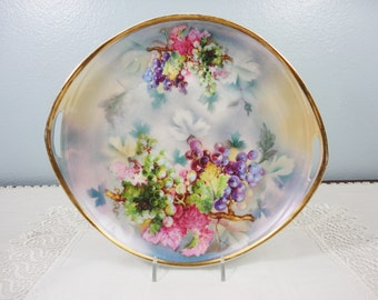 Antique CT / Carl Tielsch Altwasser Oval Hand Painted Grape Handled Plate - Germany