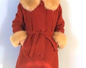 Vintage Orange Fur Trimmed Winter Coat - Womens Large - Country Pacer 1970s Boho Fabulous