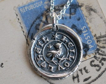 owl wax seal necklace ... HEILOVLEHEIL - hail the mighty owl - Latin motto silver medieval wax seal jewelry