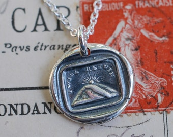 mountain sunset wax seal necklace ... I will return - going away gift - fine silver antique wax seal jewelry