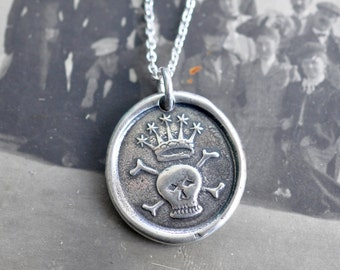 crowned skull and crossbones wax seal necklace ... memento mori - sterling silver antique wax seal jewelry
