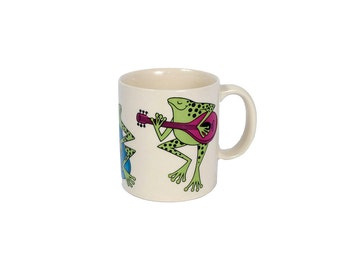Vintage 80s Mug - Frog Mug - Frog Band - Otagiri Mug - 80s Otagiri - 80s Frog - Upright Bass - Mandolin - Green Purple Yellow Blue